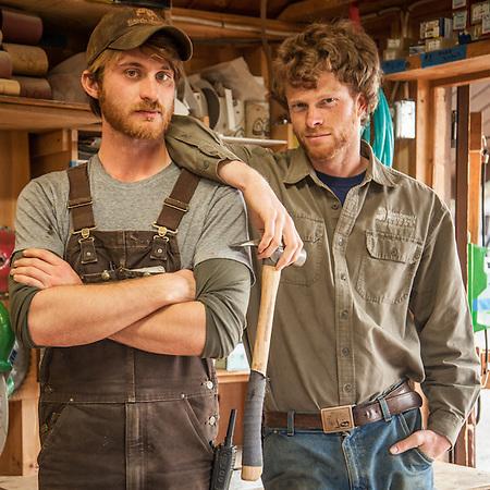 Best friends and Operations Managers Eric O'Keefe and Tom McCarran in the carpenter shop at Camp Denali, Denali National Park, Alaska  eriqueokeefe@gmail.com (© Clark James Mishler)