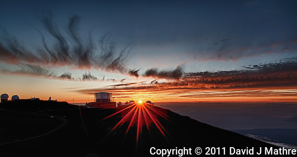 Sunset over Haleakala Satellite Tracking Station from Pu'U'Ula'Ula peak in Haleakala National Park, Maui Hawaii. Image taken with a Nikon D3x and 24 mm f/3.5 PC-E lens (ISO 100, f/16, 1/10 sec). Photoshop CS5 HDR (5 images) (David J Mathre)