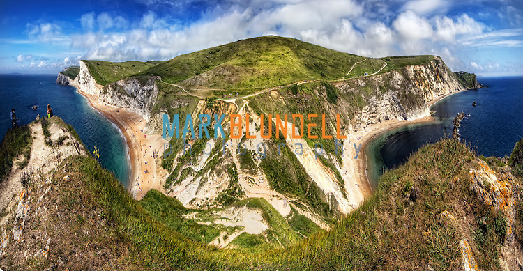 Panorama from the top of Durdle Door in Dorset, England. (Mark Blundell)