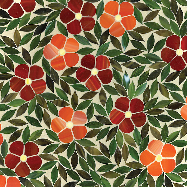 Name: Jacqueline Style: Contemporary Product Number: CB1010 Description: Jacqueline in glass Ruby, Sardonyx, Citrine, Olivine, Malachite (New Ravenna Mosaics)