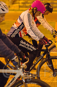 31 MAR 2015 - IPSWICH, GBR - Charlie-Jane Herbert (centre) waits to start her next drill during an Ipswich Cycle Speedway Club training session at Whitton Sports and Community Centre in Ipswich, Great Britain (PHOTO COPYRIGHT © 2015 NIGEL FARROW, ALL RIGHTS RESERVED) (NIGEL FARROW/COPYRIGHT © 2015 NIGEL FARROW : www.nigelfarrow.com)