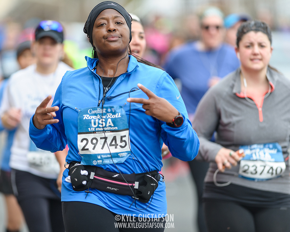 WASHINGTON, DC - March 15th, 2014 - Runners compete during the 2014 Rock 'n' Roll USA Marathon & CareFirst BlueCross BlueShield Rock 'n' Roll USA 1/2 Marathon race weekend in Washington, D.C. (Photo by Kyle Gustafson) (Kyle Gustafson)