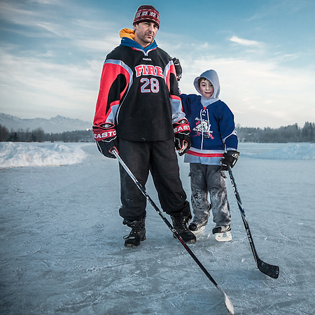 Albert Circosta with his son, Oliver (7) at Westchester Lagoon, Anchorage  albertcircosta@gmail.com (© Clark James Mishler)