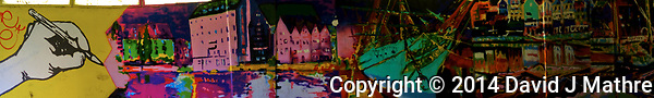 A set of colorful murals covering the walls of a pedestrian underpass walkway in Gdansk. In camera panoramas taken with a Fuji X-T1 camera and 23 mm f/1.4 lens (ISO 640, 23 mm, f/2, 1/180 sec). JPG image processed with Capture One Pro, Focus Magic, and Photoshop CC. Best if viewed individually in full screen mode. (David J Mathre)