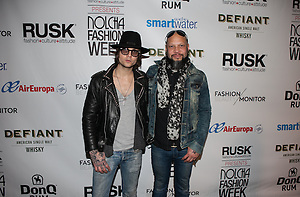 Fashion designer Christian Benner and Guns N' Roses drummer Frank Ferrer at Nolcha by Fashion Week New York event photographer Jeffrey Holmes