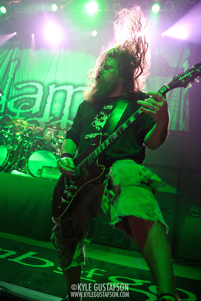 WASHINGTON, DC - January 23rd, 2012 - Guitarist Mark Morton of Richmond, VA-based heavy metal band Lamb of God performs at the 9:30 Club in Washington, D.C. The band released their seventh studio album, Resolution, earlier in the week. (Photo by Kyle Gustafson/For The Washington Post) (Kyle Gustafson/FTWP)