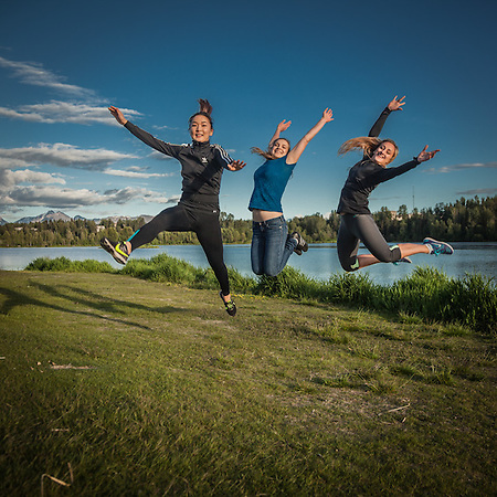 UAA Engineering student Alungo Tamen (dark hair), Accounting student Evgeniia Sezionova (blue top), and IT Management student Elena Shevchenko at Westchester Lagoon  elsezionova@gmail.com (© Clark James Mishler)