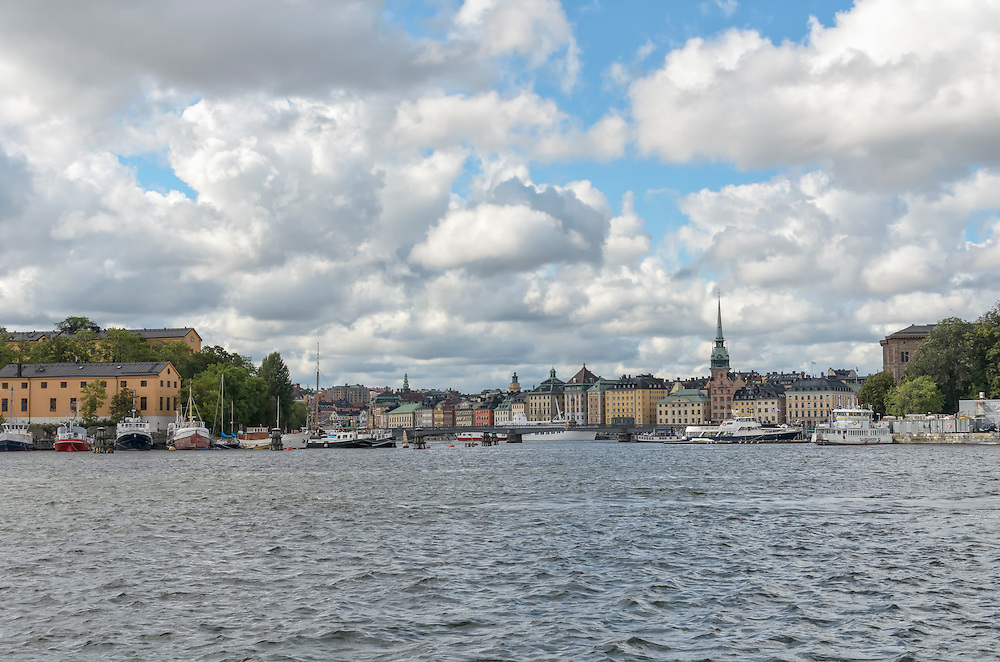 View of Stockholm Sweden skyline seen from the water Lake Malaren with focus on Gamla Stan, Stockhom's medieval old town. (Marianne A. Campolongo/© 2013 Marianne A. Campolongo)