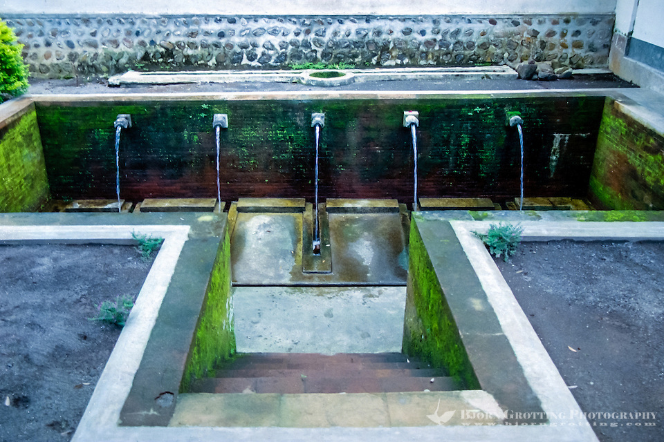 Nusa Tenggara, Lombok, Mataram. Pura Lingsar temple, The sacred pool, the holy eels in the water can be enticed from their hidings with boiled eggs. (Photo Bjorn Grotting)