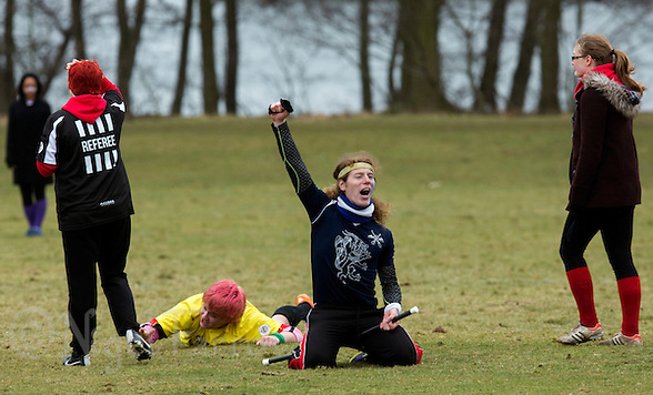08 MAR 2015 - NOTTINGHAM, GBR - Radcliffe Chimeras seeker David Goswell celebrates catching the snitch to end the 2015 British Quidditch Cup match against Warwick Quidditch Club at Woollaton Hall and Deer Park in Nottingham, Great Britain (PHOTO COPYRIGHT © 2015 NIGEL FARROW, ALL RIGHTS RESERVED) (NIGEL FARROW/COPYRIGHT © 2015 NIGEL FARROW : www.nigelfarrow.com)