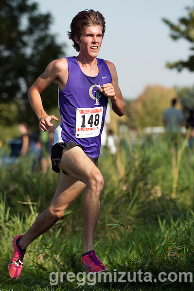 College of Idaho senior Greg Montgomery has the lead during the Roger Curran Invitational at West Park in Nampa, Idaho on September 8, 2012. Montgomery, a  six-time NAIA All-American, won the 6K race in 18:29. (Gregg Mizuta)
