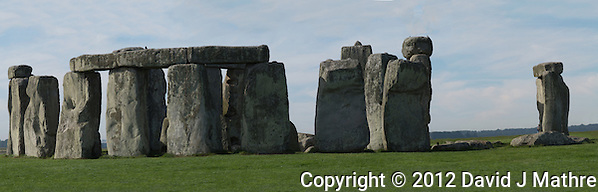 Summer Morning at Stonehenge. Composite Image taken with a Nikon 1 V1 and 30-110 mm VR lens (ISO 100, 110 mm, f/11, 1/200 sec). Composite of 10 vertical images processed using Photoshop CS6 (David J. Mathre)