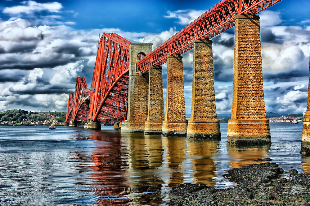 Looking up and across at the Firth of Forth rail bridge in South Queensferry Scotland. (Ian C Whitworth)