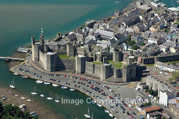 Caernarfon Castle, Gwynedd, North Wales from the Air - Aerial Photography By Simon Kirwan