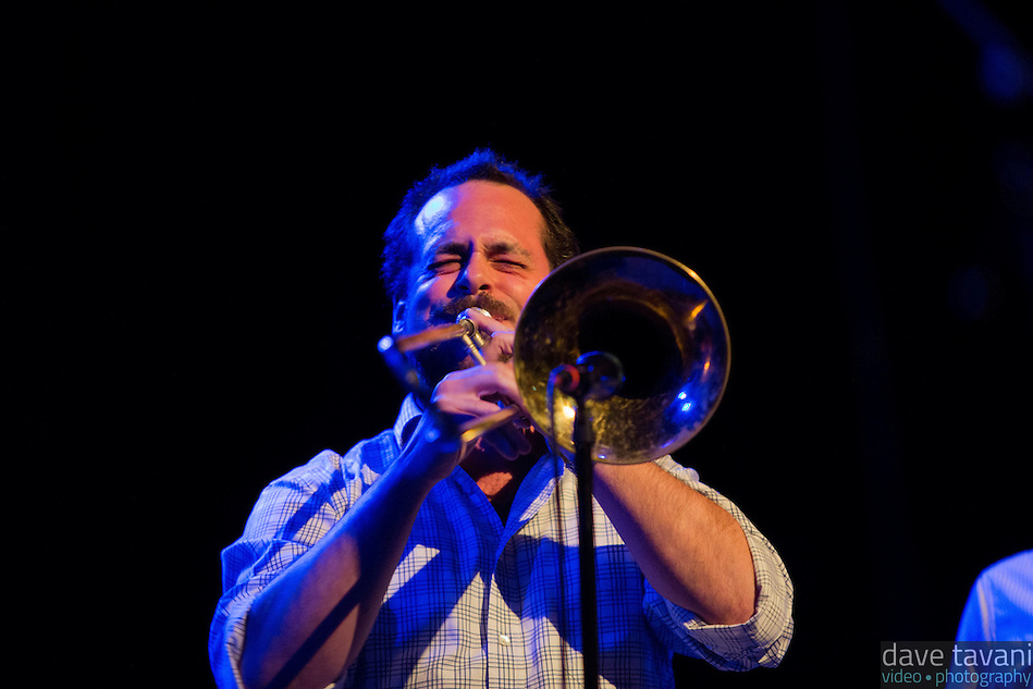 Aaron Johnson takes a trombone solo while Antibalas performs at Union Transfer in Philadelphia on December 13, 2012. (Dave Tavani)