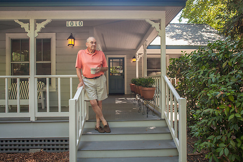 Retired wine maker Robert Pecota on the porch of his house on Cedar Street in Calistoga (Clark James Mishler)