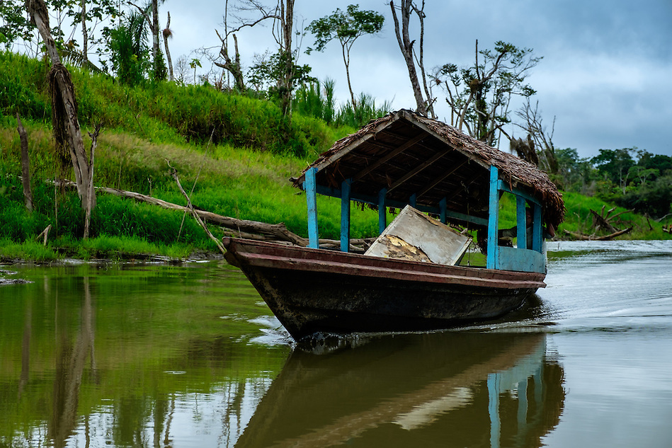 LORETO, PERU - CIRCA OCTOBER 2015: Typical local boat at the Yarapa River in the Peruvian Amazon. (Daniel Korzeniewski)