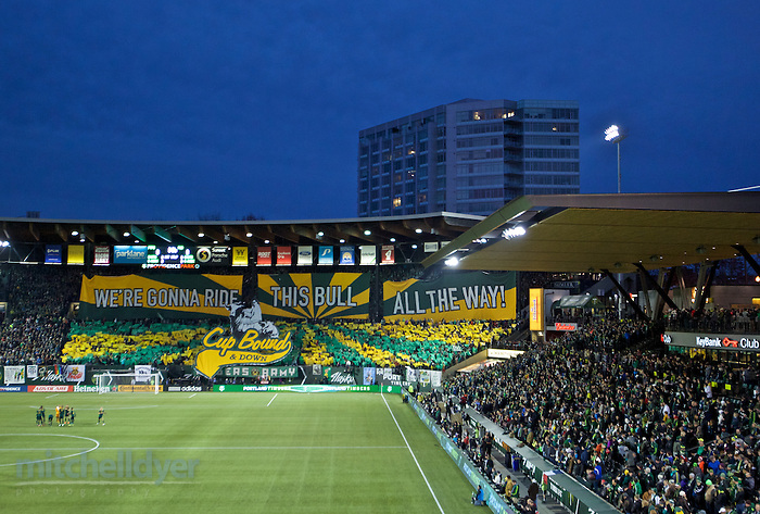 November 22, 2015; Portland, OR, USA; The Timbers Army tifo before the Western Conference Finals at Providence Park. Photo: Craig Mitchelldyer-Portland Timbers (Craig Mitchelldyer, Craig Mitchelldyer)