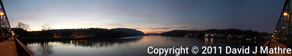 Pano of the Delaware River from the Lambertville - New Hope Bridge at Dawn. Composite of 5 images taken with a Nikon 1 V1 camera and 10 mm f/2.8 lens using Kolor AutoPano Giga Pro. (David J. Mathre)