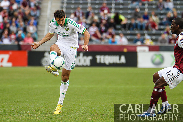 March 30th, 2013 Commerce City, CO - Portland Timbers midfielder Diego Valeri (8) attempts to cross the ball in front of the Rapids goal in the first half of the MLS match between the Portland Timbers and the Colorado Rapids at Dick's Sporting Goods Park in Commerce City, CO (Carl Auer/Newsport)