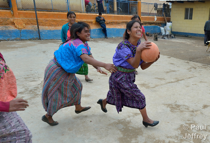 Maria Valentina Lopez drives for the basket as indigenous women play basketball in Tuixcajchis, a small Mam-speaking Maya village in Comitancillo, Guatemala. (Paul Jeffrey)