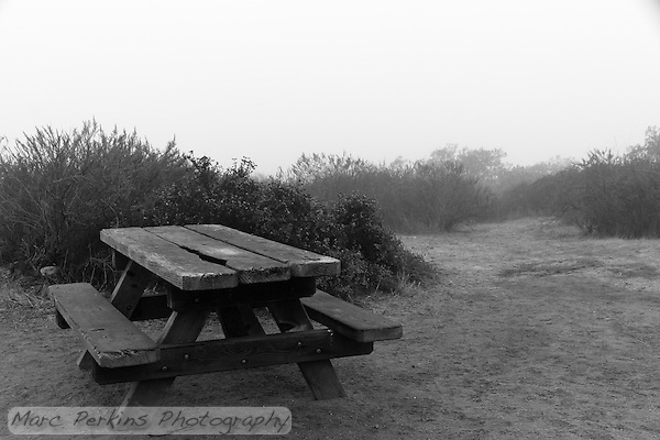 A picnic table on a foggy afternoon at the Lower Moro campground of Crystal Cove State Park. (Marc C. Perkins)