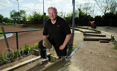 16 MAY 2015 - IPSWICH, GBR - Bryan Harvey, the Track Manager for Ipswich Cycle Speedway Club, at the club's track at Whitton Sports and Community Centre in Ipswich, Suffolk, Great Britain (PHOTO COPYRIGHT © 2015 NIGEL FARROW, ALL RIGHTS RESERVED) (NIGEL FARROW/COPYRIGHT © 2015 NIGEL FARROW : www.nigelfarrow.com)