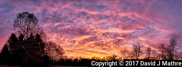 Colorful Clouds at Dawn Panorama. Composite of seven images taken with a Fuji X-T1 camera and 16 mm f1.4 lens (ISO 200, 16 mm, f/4, 1/30 sec). Raw images processed with Capture One Pro and AutoPano Giga Pro. (David J Mathre)