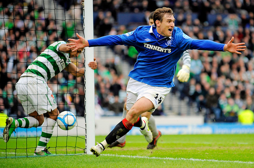 20TH MARCH 2011, CELTIC V RANGERS, CIS CUP FINAL, HAMPDEN PARK, GLASGOW, NIKICA JELAVIC CELEBRATES SCORING AN EXTRA TIME WINNER TO EARN RANGERS THE CIS CUP 2-1, ROB CASEY PHOTOGRAPHY. (ROB CASEY/ROB CASEY PHOTOGRAPHY)