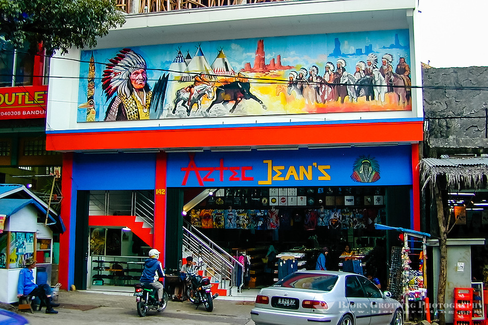 Indonesia, Java, Bandung. The famous Jalan Jeans, Jeans Street, in Bandung. Cheap locally made cloths for sale. (Photo Bjorn Grotting)