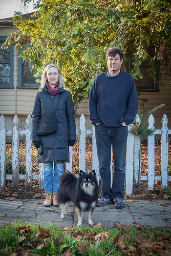 Designer Peter Ivanoff and his wife, Kali with their dog, Max, on Cedar Street in Calistoga (© Clark James Mishler)