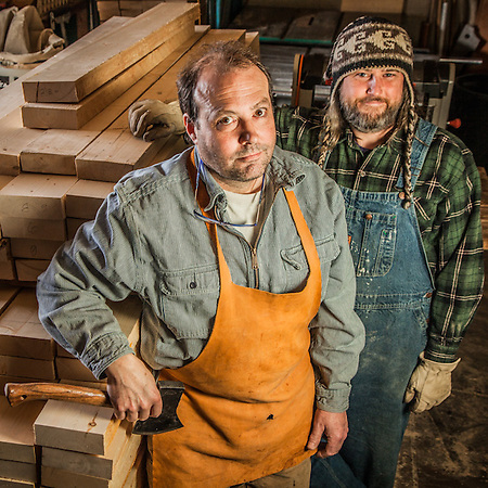 Cooper Mark Gould and his apprentice, Mark McArthur, at Kachemac Cooperage in the Anchorage neighborhood of Mountain View  kachemak@alaska.net  kachemakcooperage@icloud.com (© Clark James Mishler)