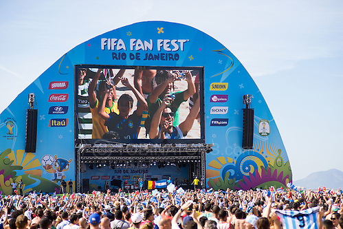 Crowds pack the FIFA Fan Fest, Rio de Janeiro, during the Argentina v Belgium World Cup quarter final match which was shown on big screens. Picture by Andrew Tobin/Focus Images Ltd +44 7710 761829 05/07/2014 (Andrew Tobin/Tobinators Ltd)