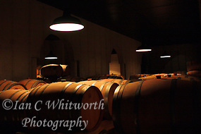 Wine ages in oak barrels in a underground celler (Ian C Whitworth)
