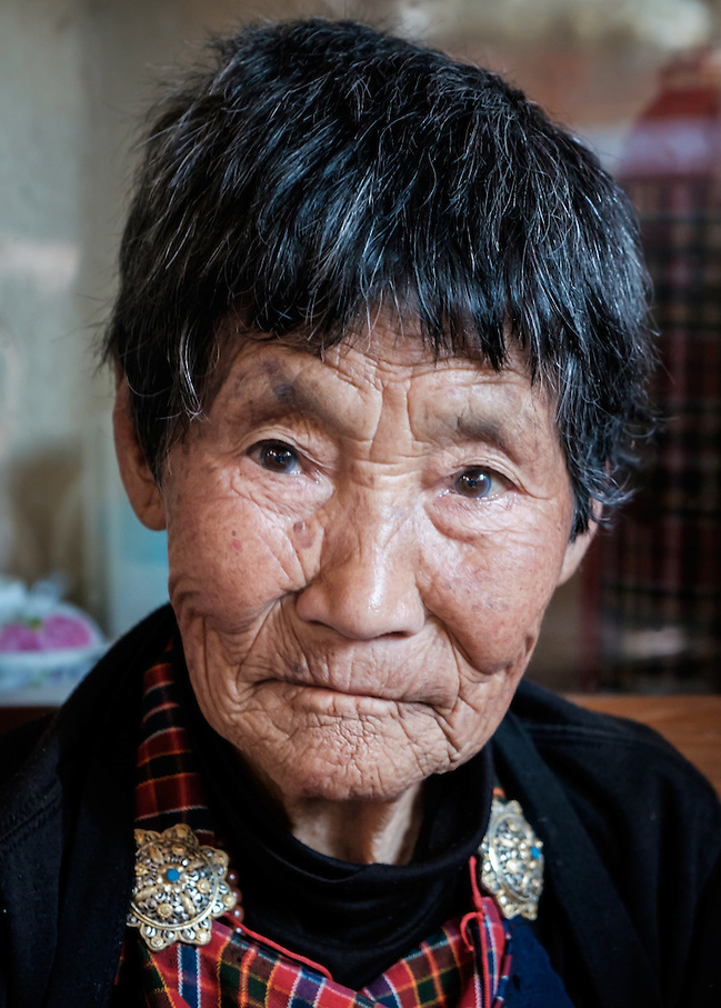 THIMPHU, BHUTAN - CIRCA OCTOBER 2014: Portrait of old Bhutanese woman in Thimphu (Daniel Korzeniewski)