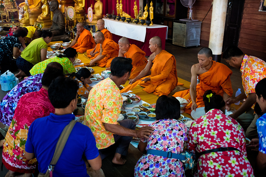Devotees serve monks breakfast at the local temple on the first day of Songkran in Nakhon Nayok, Thailand. (Lee Craker/Lee Craker, Photographer)