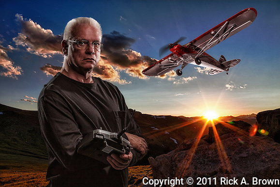 USA, Colorado, Rocky Mountain National Park, Composite portrait of man with his RC plane. MR (Rick A. Brown/www.moosephoto.com)