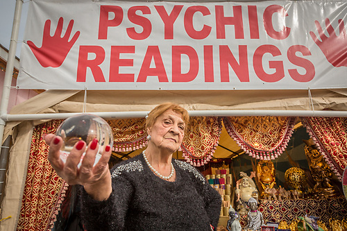 Lifetime Psychic Reader, Anna Adams, performs daily at the Alaska State Fair in Palmer, Alaska (Clark James Mishler)