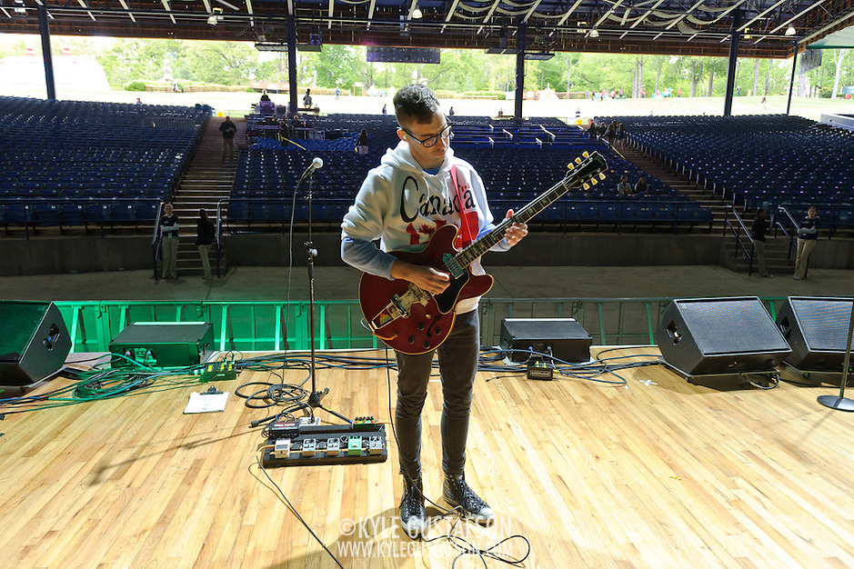 COLUMBIA, MD- April 28, 2012 - Jack Antonoff of fun. plays his guitar during soundcheck  before gates open at the 2012 Sweetgreen Festival at Merriweather Post pavilion in Columbia, MD(photo by Kyle Gustafson) (Kyle Gustafson/Photo by Kyle Gustafson)