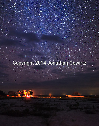 Campers sit around a fire under a magnificent starry night sky on the beach at East Cape Sable, on Florida Bay at the southern end of Everglades National Park. (Jonathan Gewirtz   jonathan@gewirtz.net)