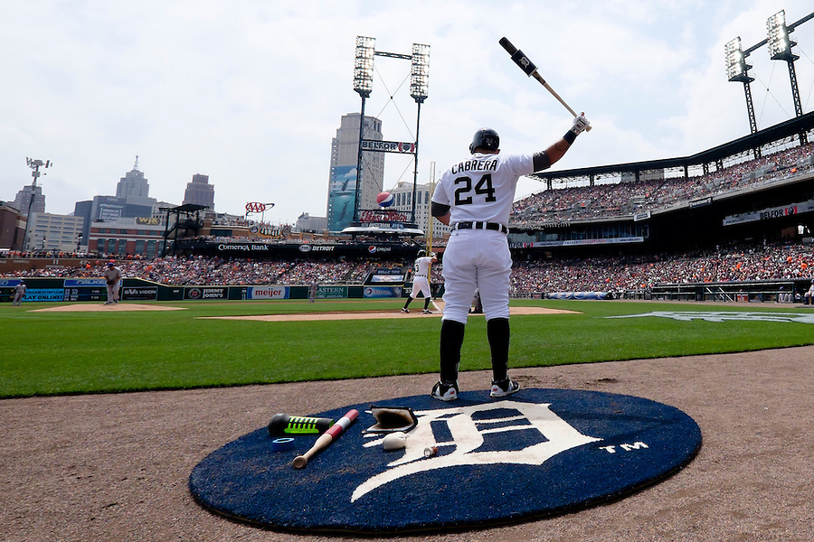 May 9, 2015; Detroit, MI, USA; Detroit Tigers first baseman Miguel Cabrera (24) gets set to bat in the first inning against the Kansas City Royals at Comerica Park. Mandatory Credit: Rick Osentoski-USA TODAY Sports (Rick Osentoski/Rick Osentoski-USA TODAY Sports)