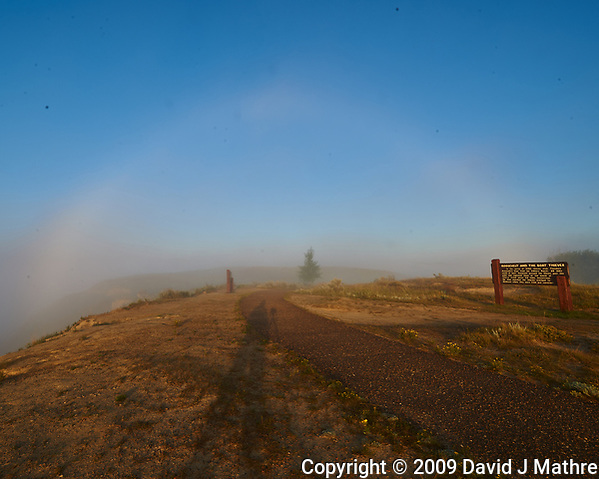 Fog Rainbow and Photographer's Shadow. Little Missouri river overlook. Image taken with a Nikon D3x camera and 14-28 mm f/2.8 lens (ISO 100, 14 mm, f/16, 1/40 sec). (David J Mathre)