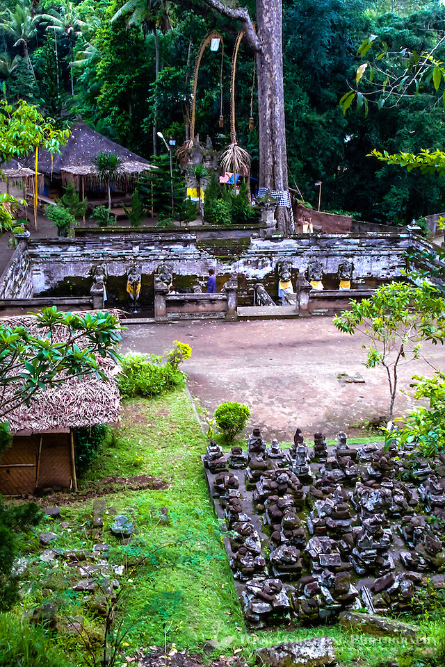 Bali, Gianyar, Goa Gajah. The elephant cave. A view over the old bathing pools. Behind the pools a large, sacred tree. The caves entrance is located to the left. (Photo Bjorn Grotting)