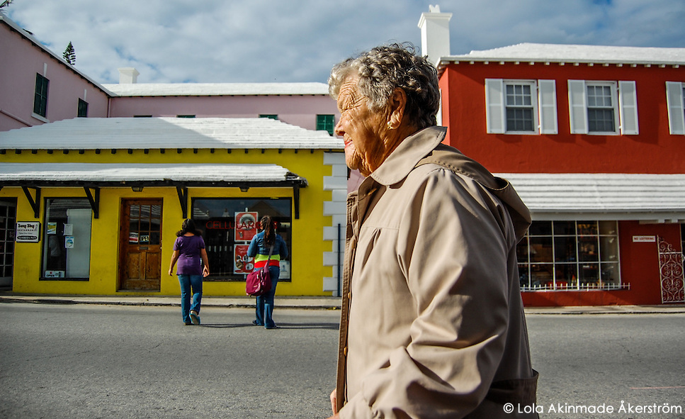Postcard: Two generations crossing the street