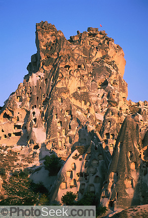 Castle of Uchisar, Cappadocia, Turkey, carved in volcanic tuff in 15th and 16th centuries by Byzantine army.