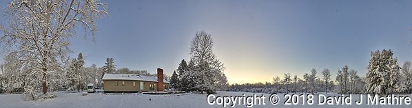 Snowy Backyard Panorama. Composite of 22 images taken with a Leica T camera and 11-23 mm wide-angle zoom lens (ISO 200, 15 mm, f/5.6, 1/30 sec). (David J Mathre)