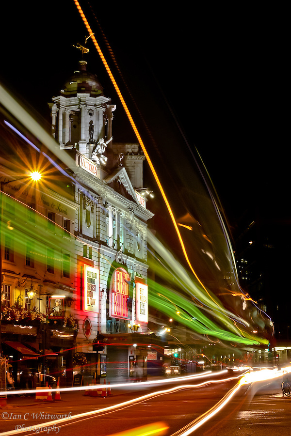 Light trails across the Victoria Palace Theatre at night (Ian C Whitworth)