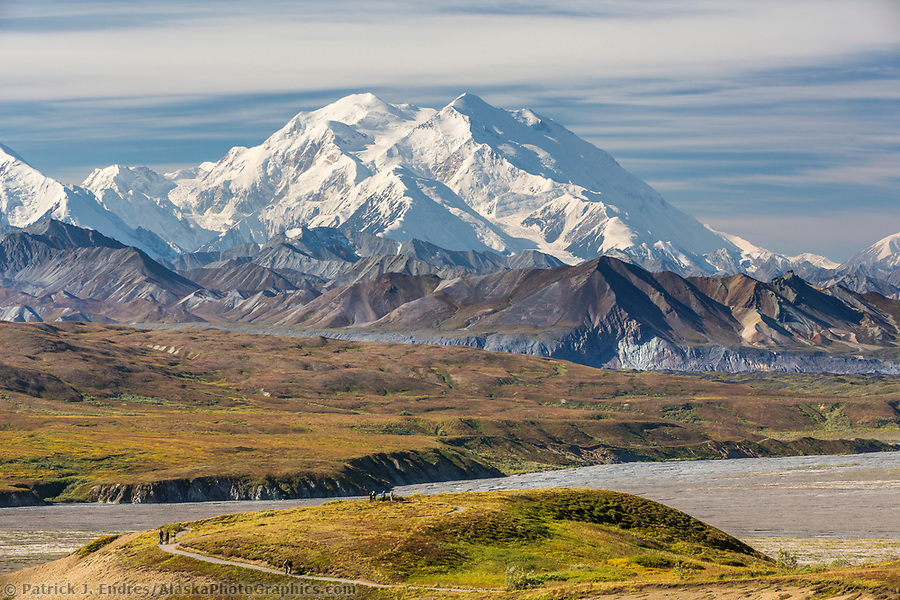 Hikers view Denali and the Alaska Range mountains from the trails at Eielson visitors center in Denali National Park, Alaska. (Patrick J. Endres / AlaskaPhotoGraphics.com)