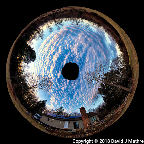 Inverse Little Planet Panorama of Late Afternoon Winter Clouds and Sky Over New Jersey. Composite of 12 landscape images taken with a Nikon D810a camera and 14-24 mm f/2.8 zoom lens (ISO 200, 14 mm, f/8, 1/100 sec). Raw images processed with Capture One Pro, Photoshop CC, and AutoGiga Pan Promo. (David J Mathre)
