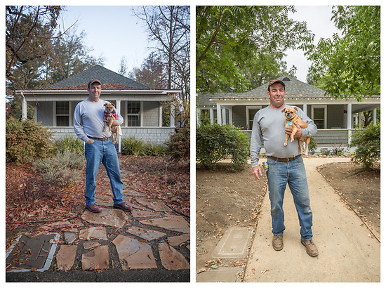 """ I started this project on December 4, 2015 and today, I will receive my final inspection. I believe this may be my last big project."" - Hal Leggett with his dog, Cooper, in front of his Myrtle Street remodel project on 12-4-2015 and again on 9-5-2017 (Clark James Mishler)"